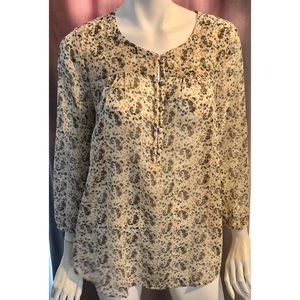 Lucky Brand Paisley Print Long Sleeve Top
